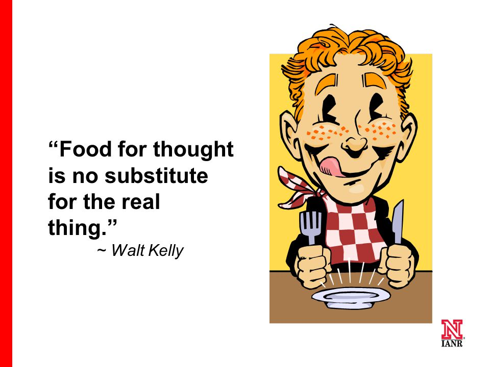 Food for thought is no substitute for the real thing. ~ Walt Kelly
