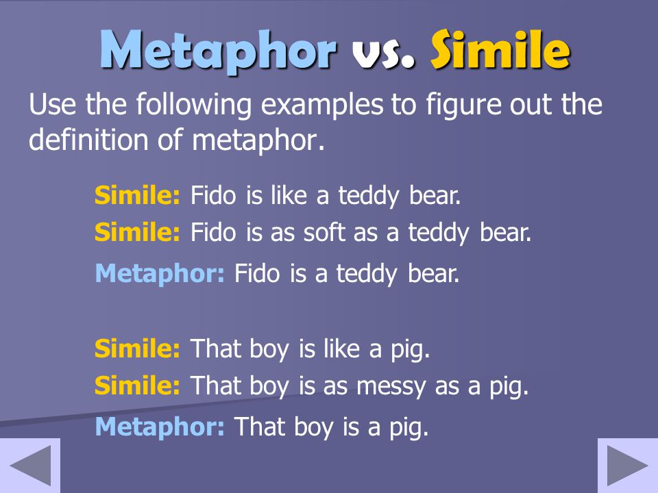Use the following examples to figure out the definition of metaphor.