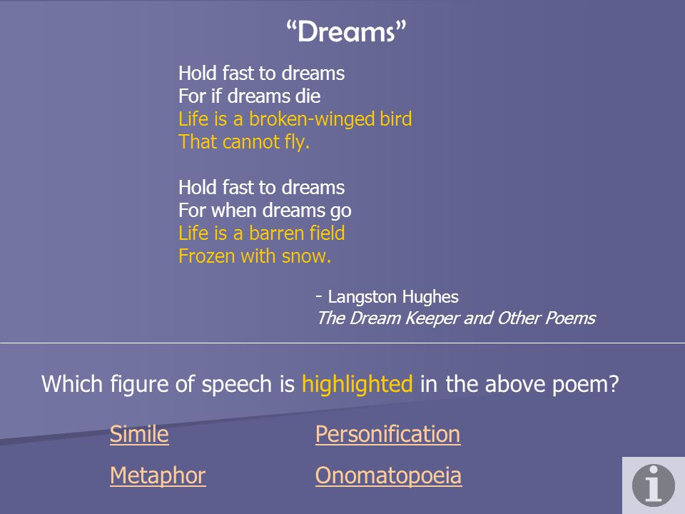 Dreams - Langston Hughes The Dream Keeper and Other Poems