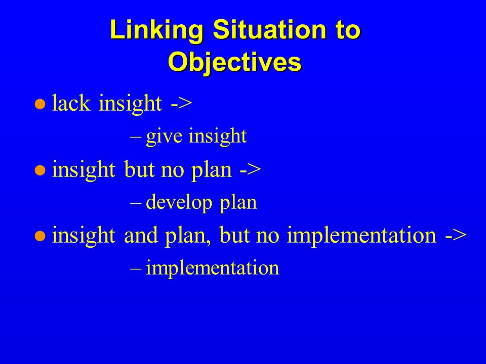 Linking Situation to Objectives