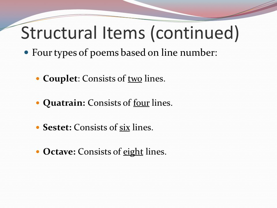Structural Items (continued)
