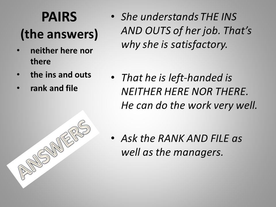 ANSWERS PAIRS (the answers)