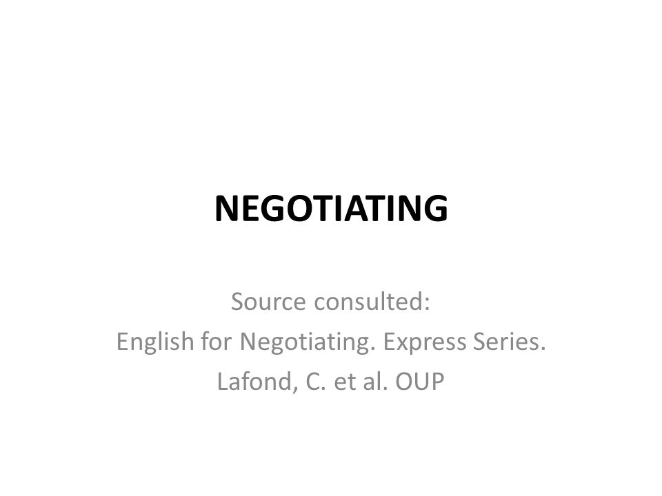 English for Negotiating. Express Series.
