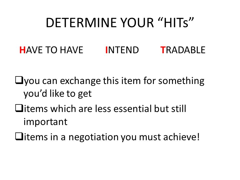 DETERMINE YOUR HITs HAVE TO HAVE INTEND TRADABLE