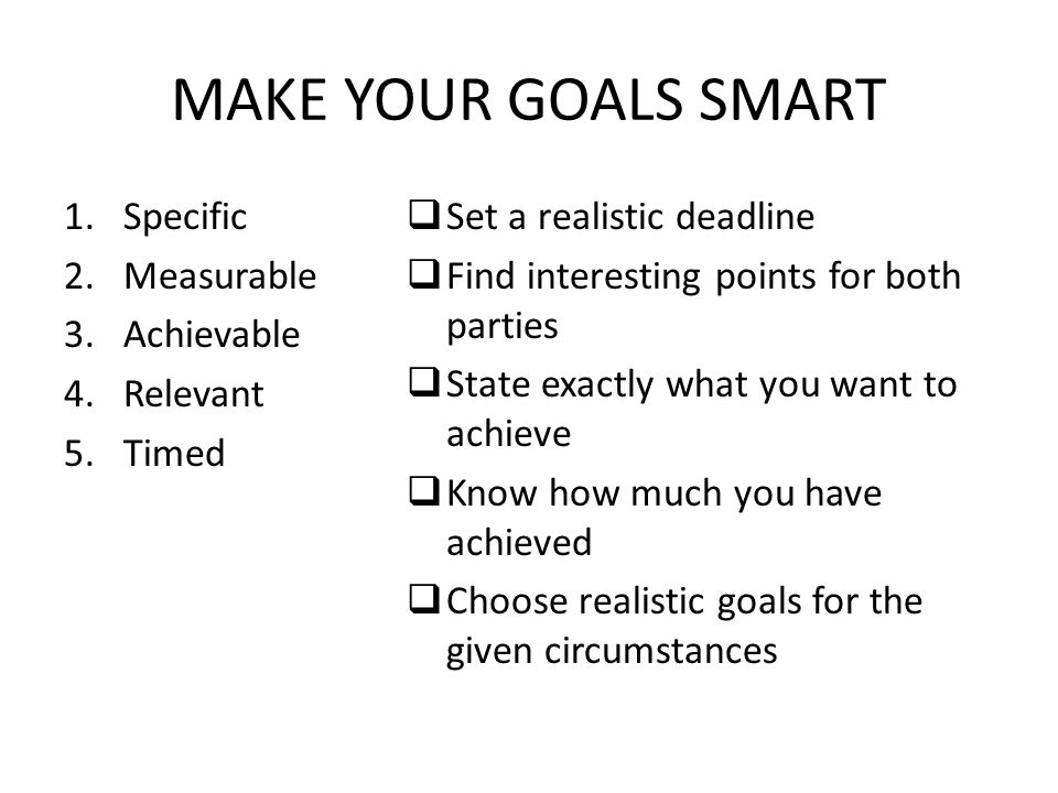 MAKE YOUR GOALS SMART Specific Measurable Achievable Relevant Timed