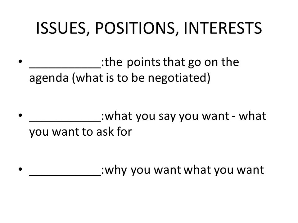 ISSUES, POSITIONS, INTERESTS
