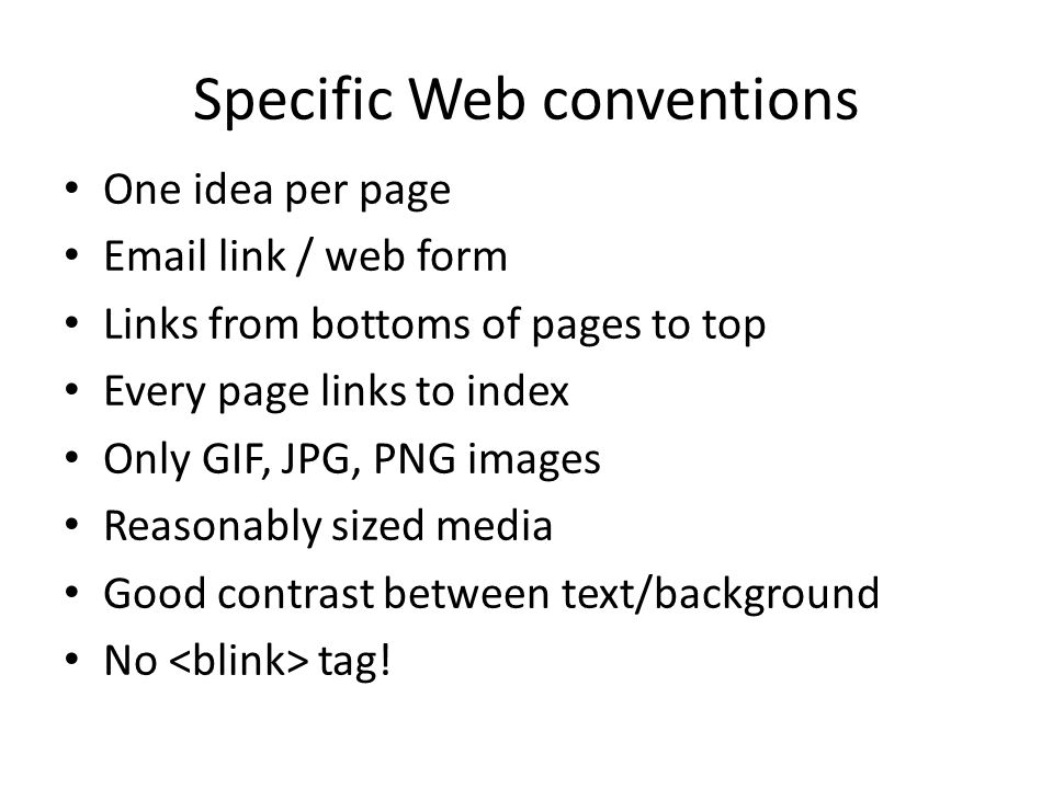 Specific Web conventions