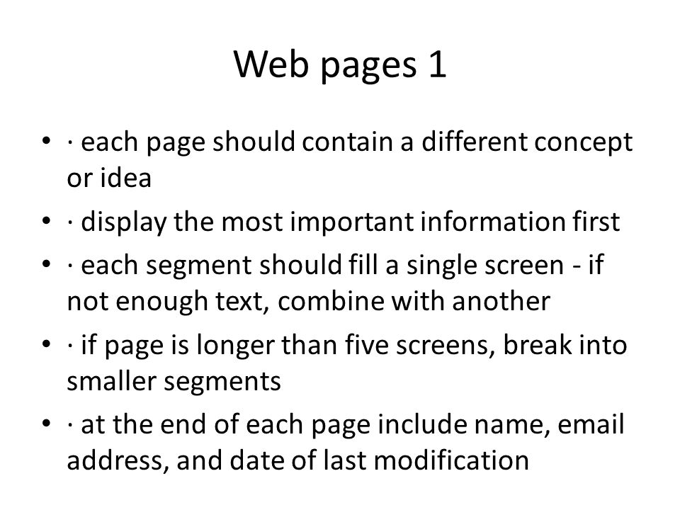 Web pages 1 · each page should contain a different concept or idea