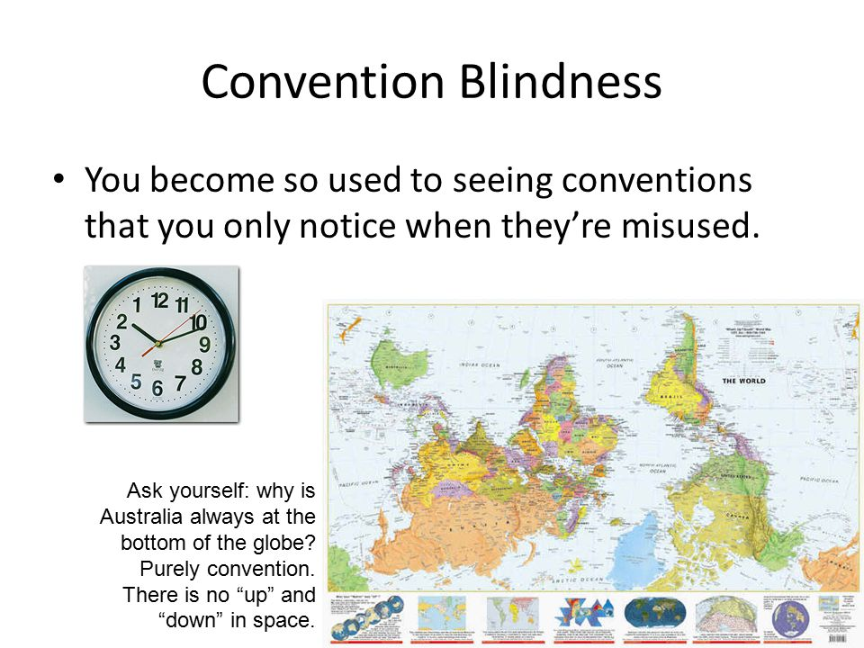 Convention Blindness You become so used to seeing conventions that you only notice when they're misused.