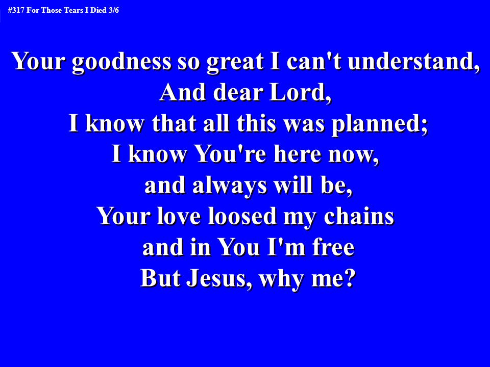 Your goodness so great I can t understand, And dear Lord,