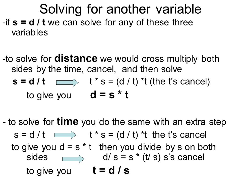 Solving for another variable