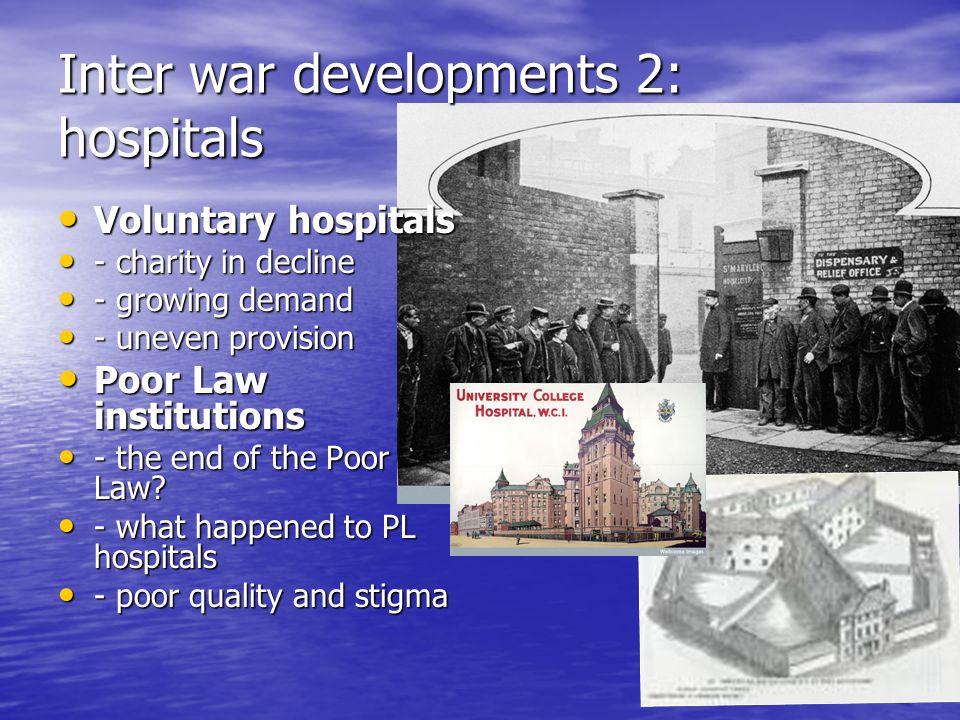 Inter war developments 2: hospitals
