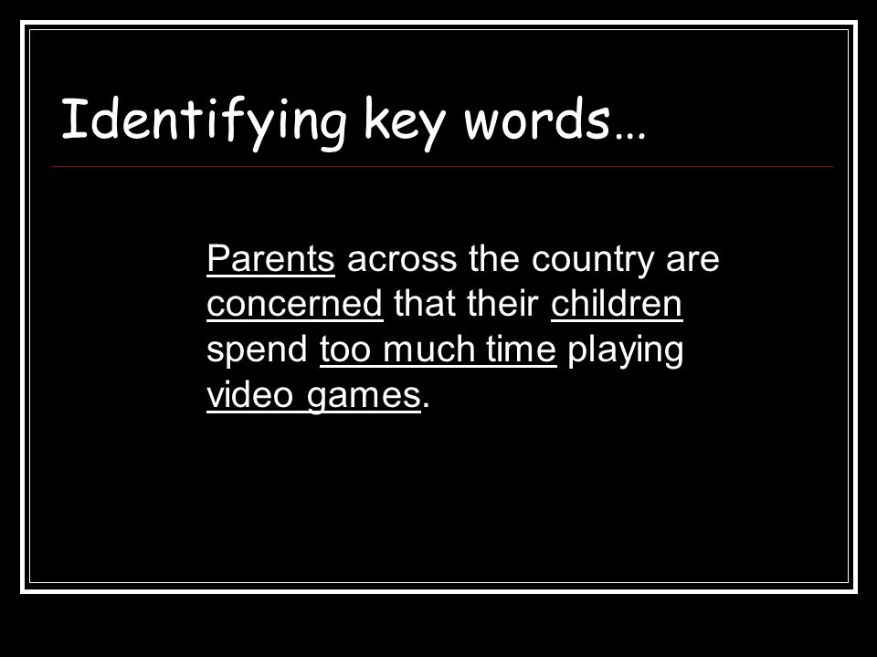 Identifying key words…