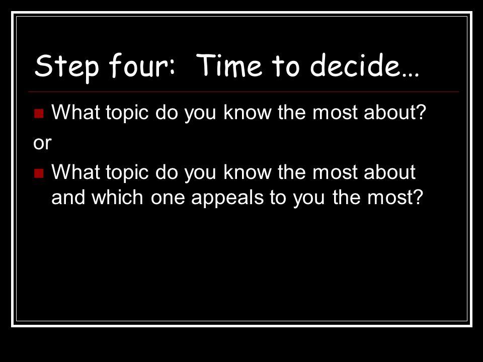 Step four: Time to decide…