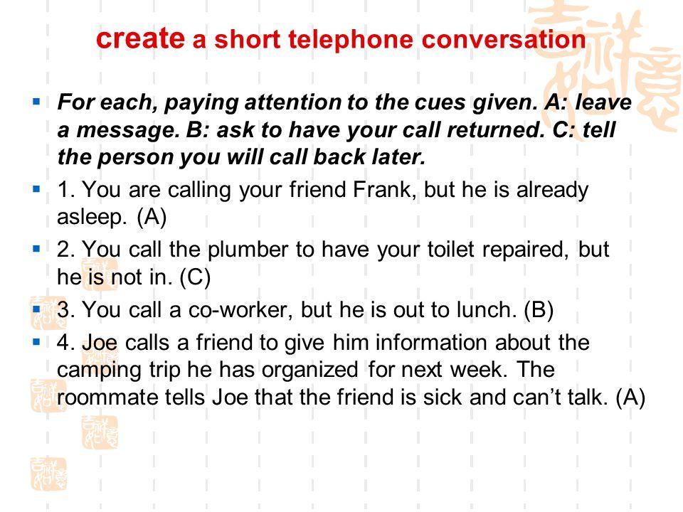 create a short telephone conversation