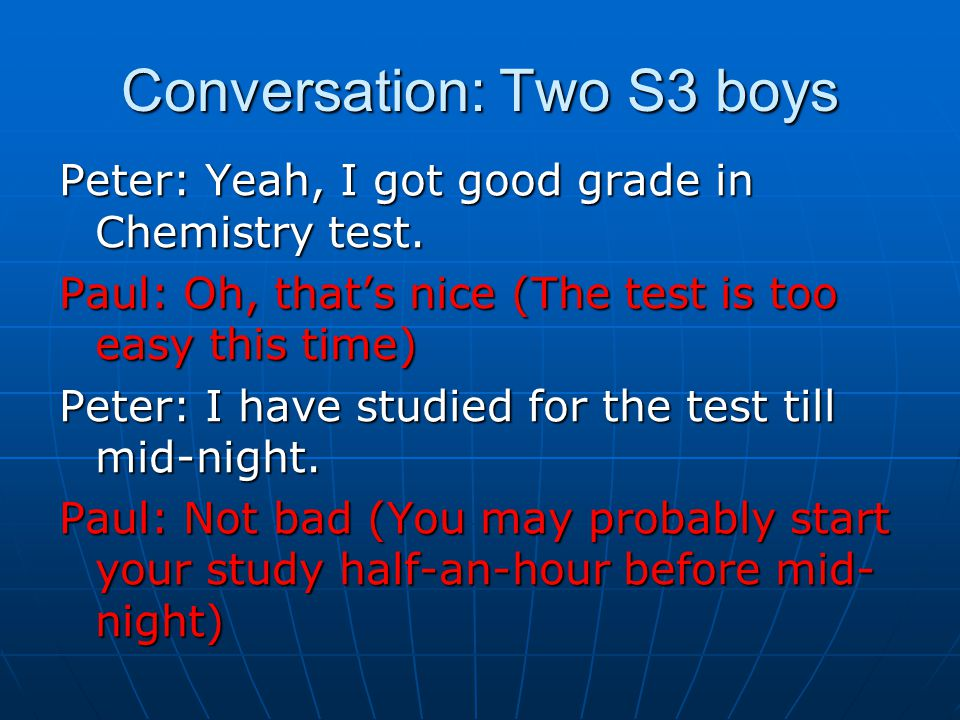 Conversation: Two S3 boys