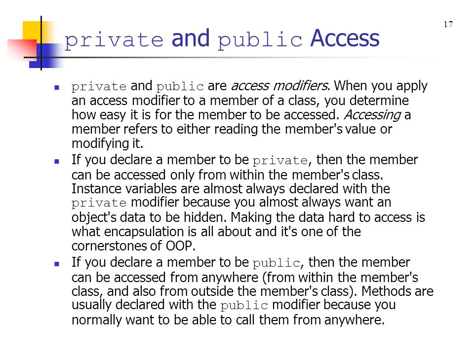 private and public Access