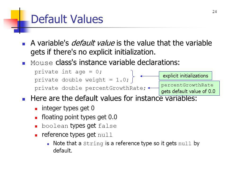 explicit initializations