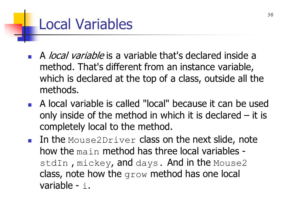 Local Variables 36.