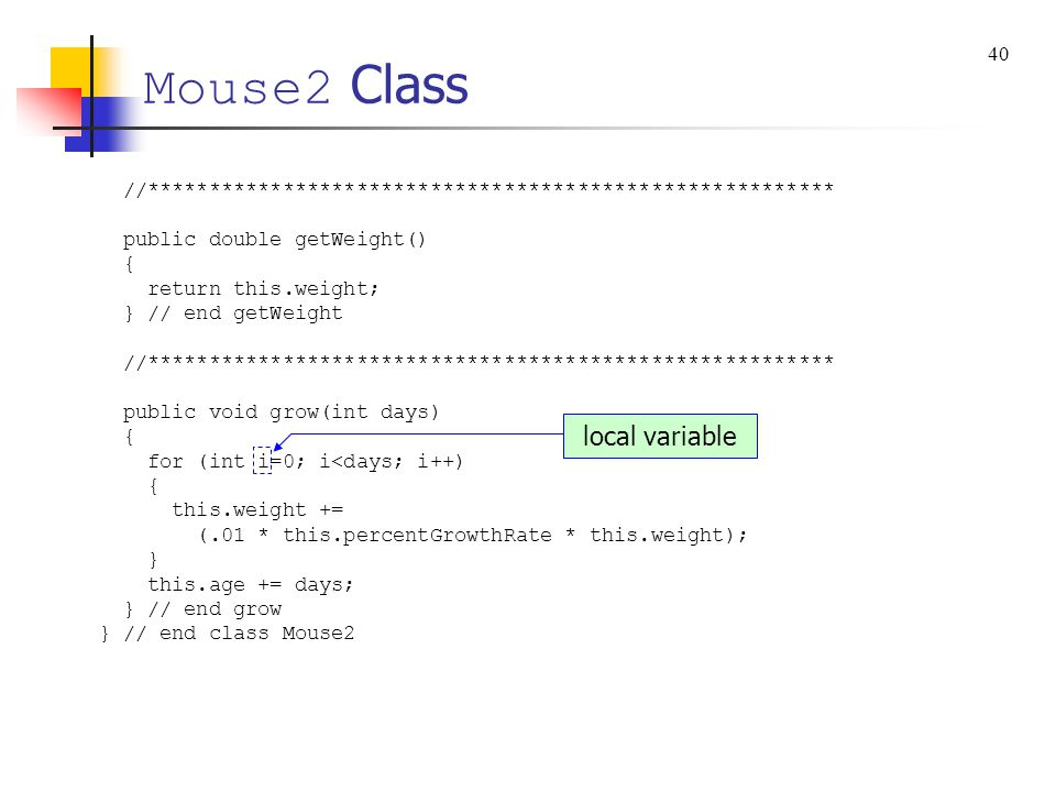 Mouse2 Class local variable 40