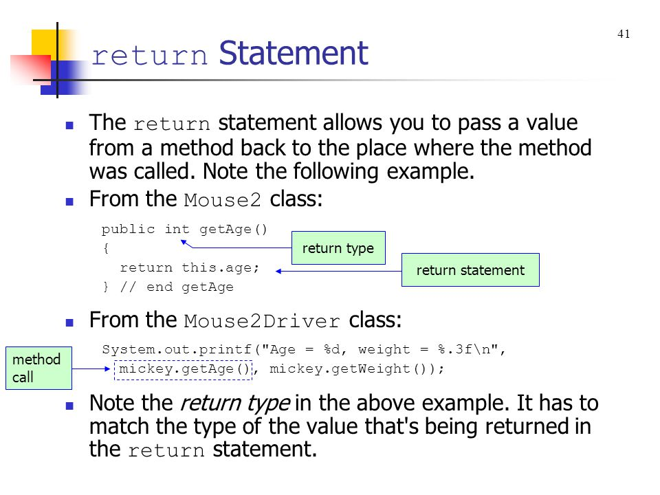 return Statement 41.