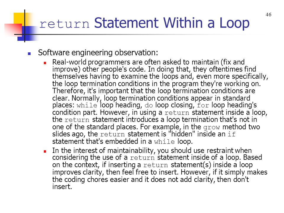 return Statement Within a Loop