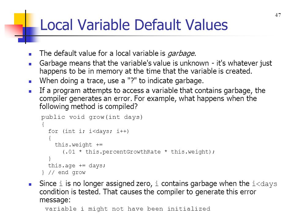 Local Variable Default Values