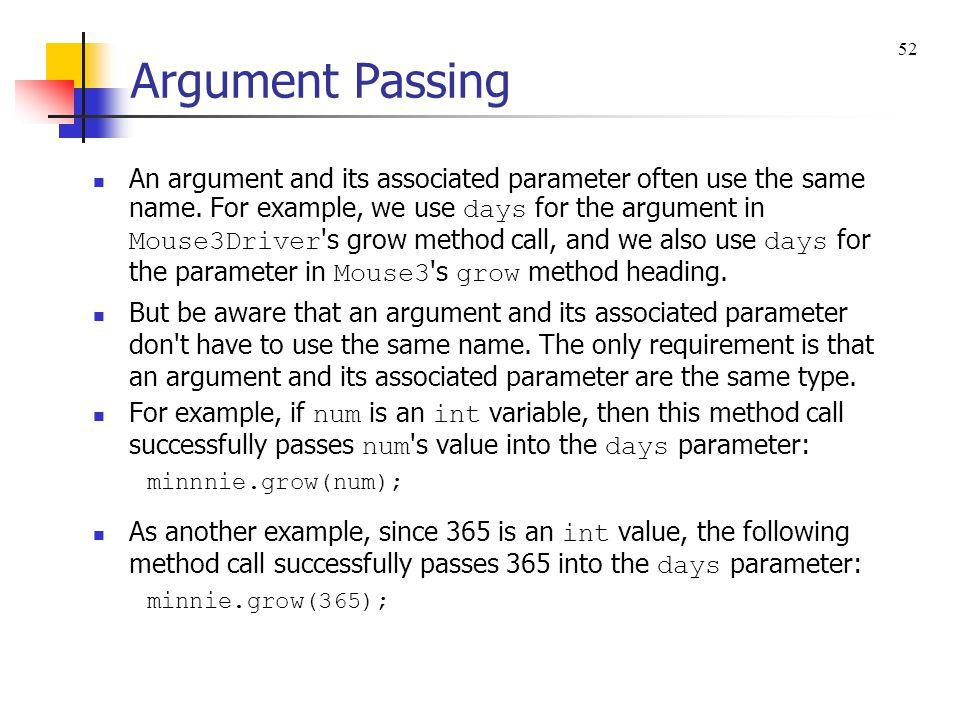 Argument Passing 52.