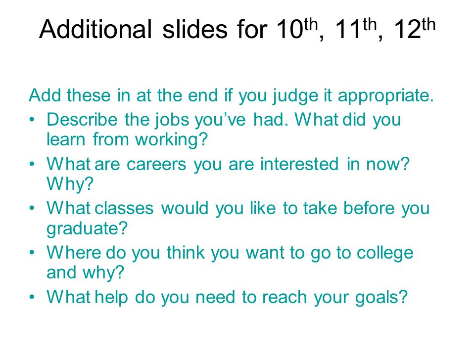 Additional slides for 10th, 11th, 12th