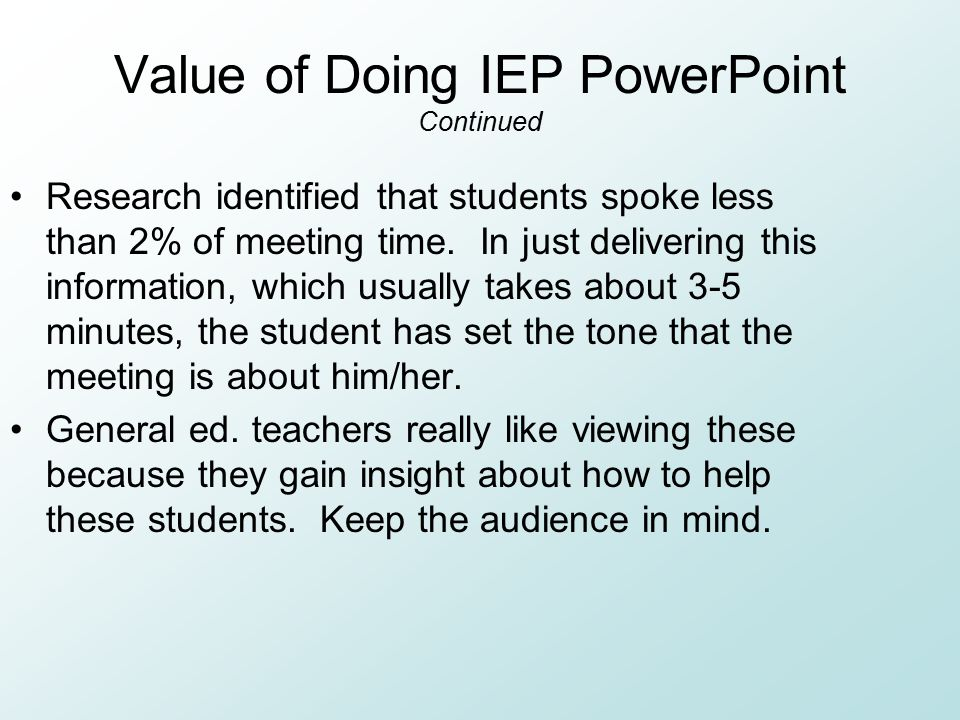 Value of Doing IEP PowerPoint Continued