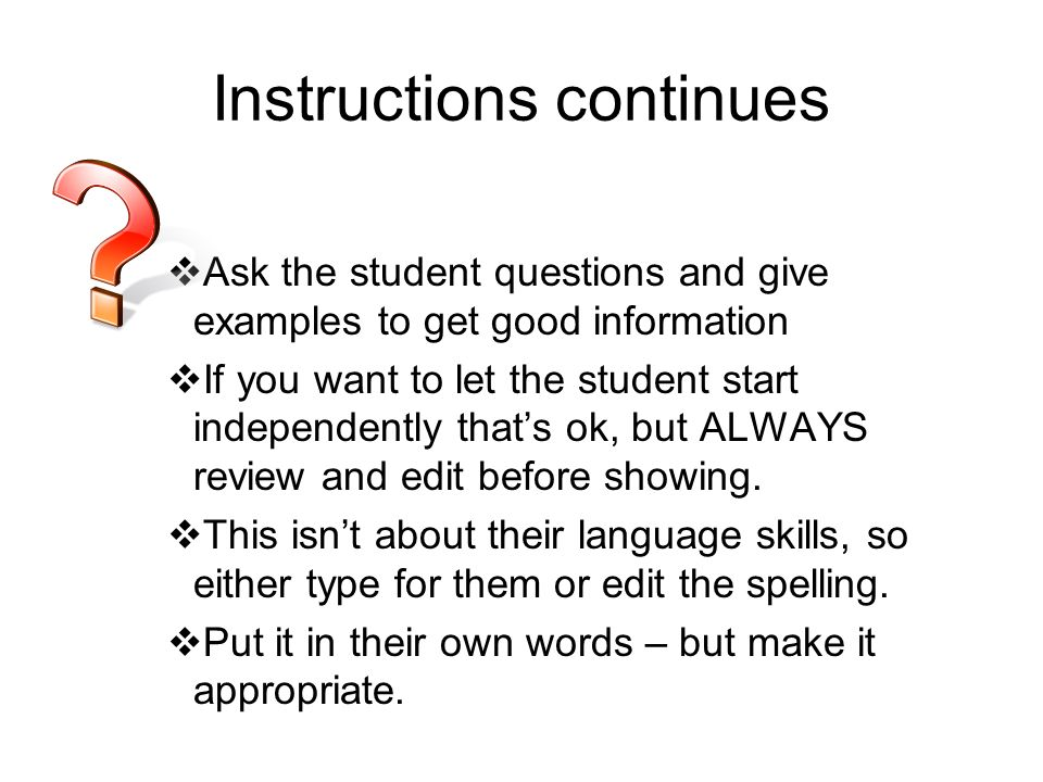 Instructions continues