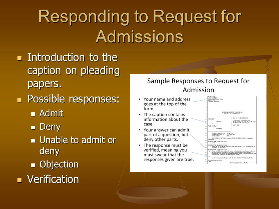 Responding to Request for Admissions
