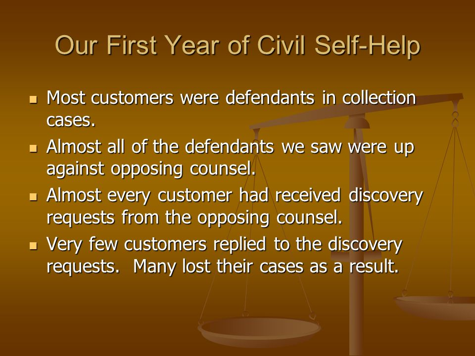 Our First Year of Civil Self-Help