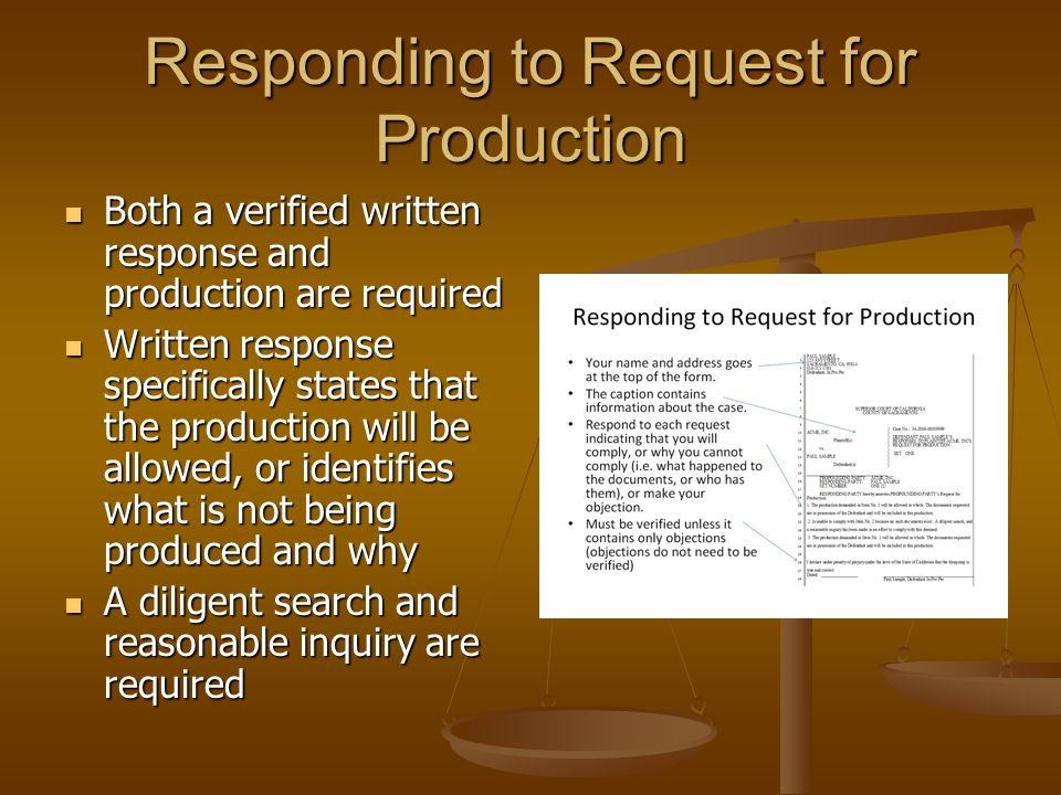 Responding to Request for Production