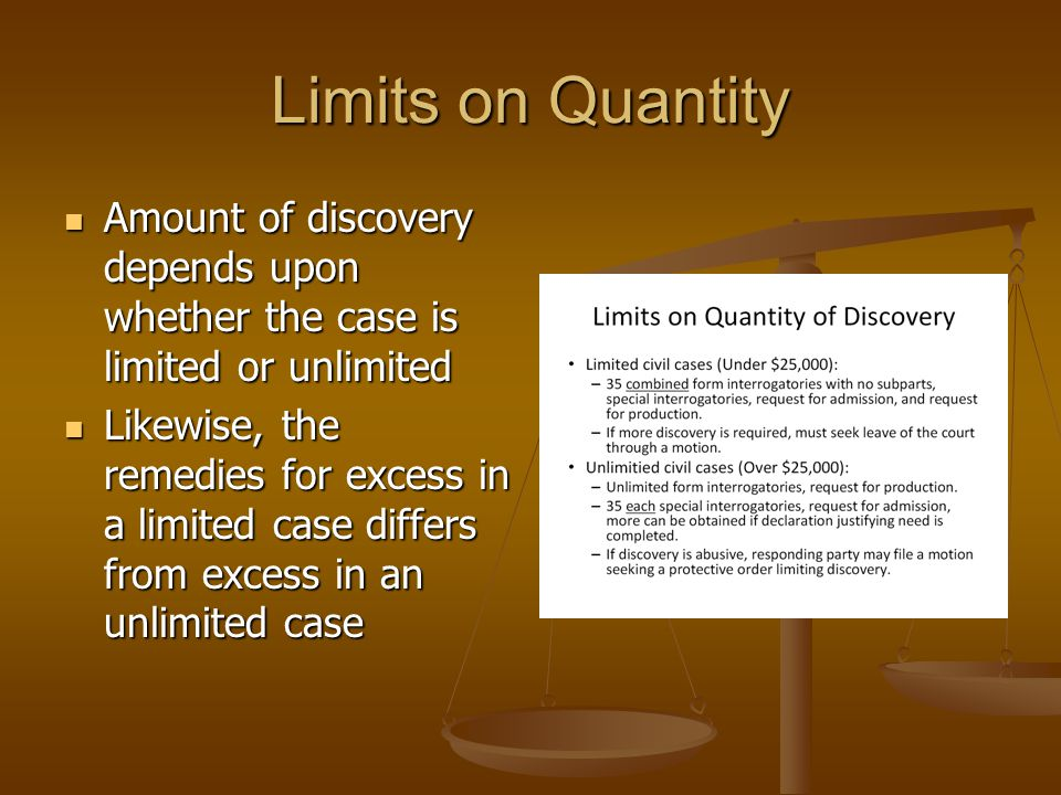 Limits on Quantity Amount of discovery depends upon whether the case is limited or unlimited.
