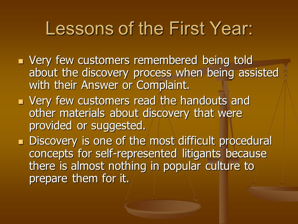 Lessons of the First Year: