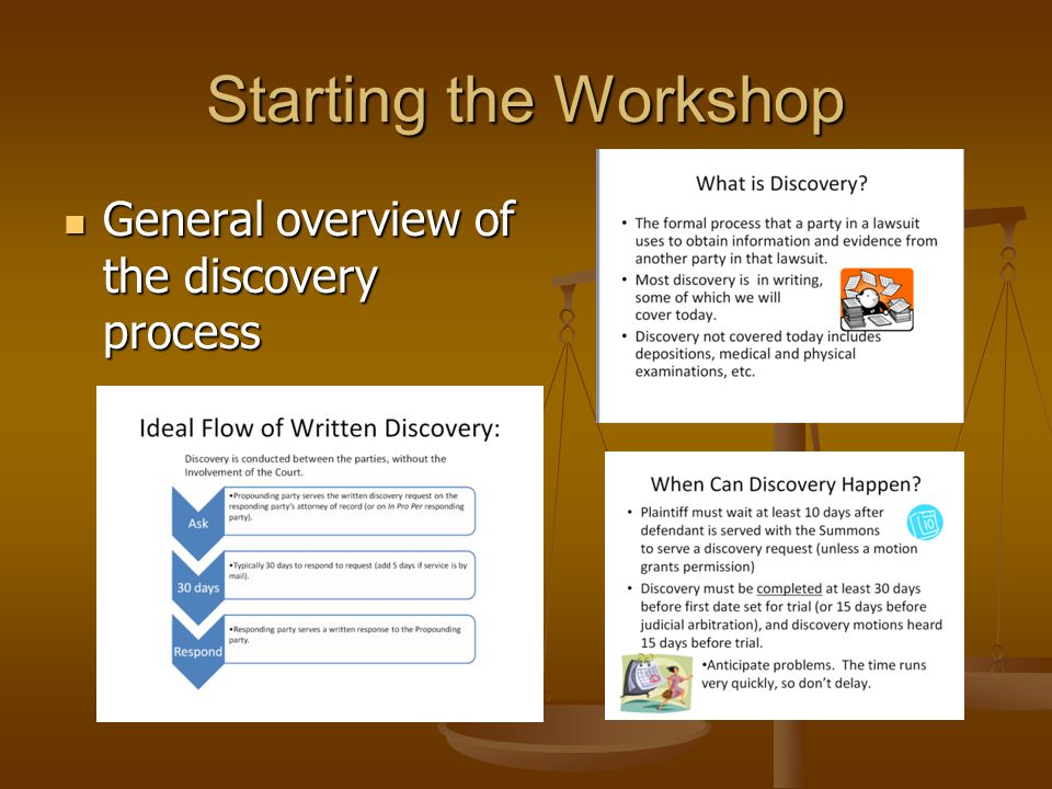 Starting the Workshop General overview of the discovery process
