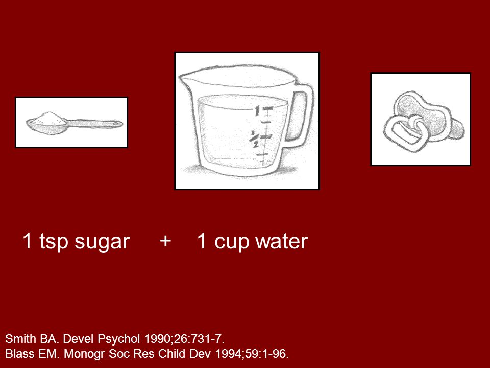 Make a mixture of 1 tsp sugar and 1 cup of water, and soak a pacifier in the mixture.