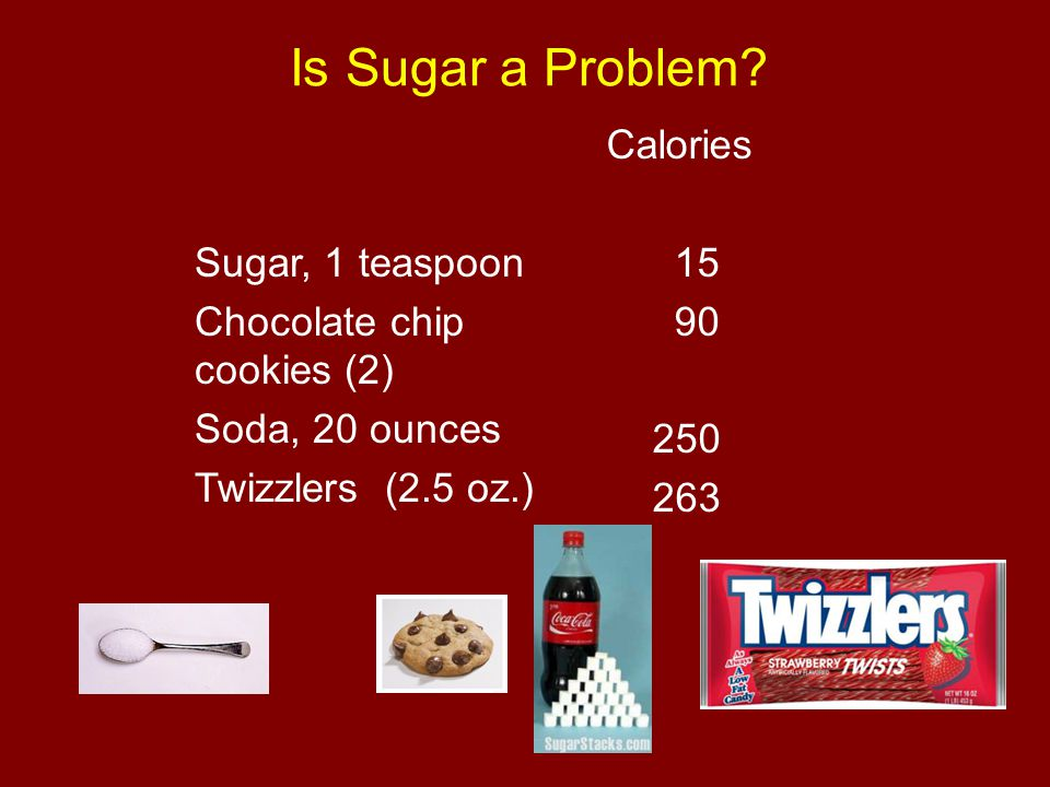 Is Sugar a Problem Sugar, 1 teaspoon Chocolate chip cookies (2)