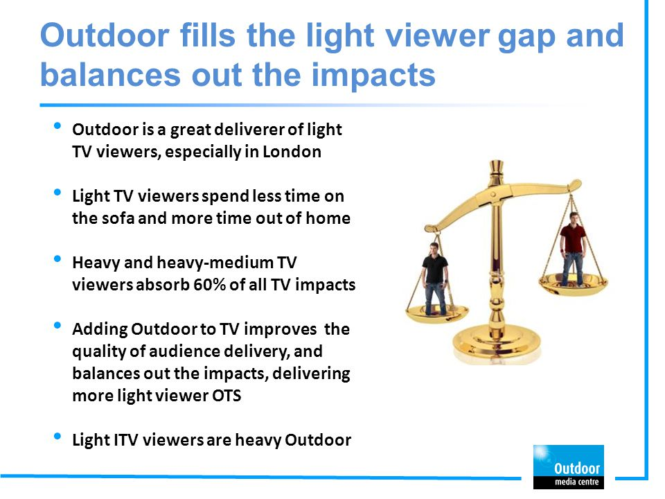 Outdoor fills the light viewer gap and balances out the impacts