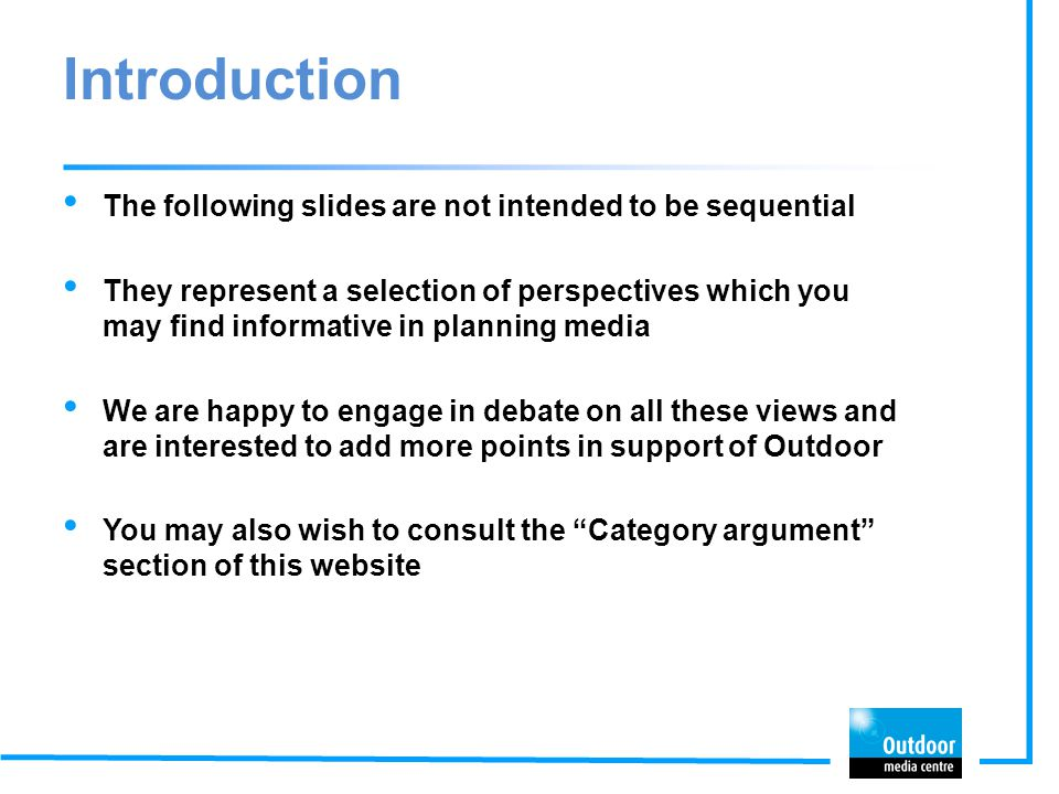 Introduction The following slides are not intended to be sequential