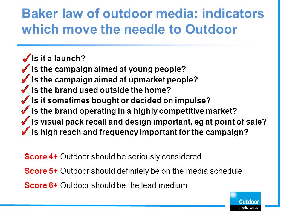Baker law of outdoor media: indicators which move the needle to Outdoor