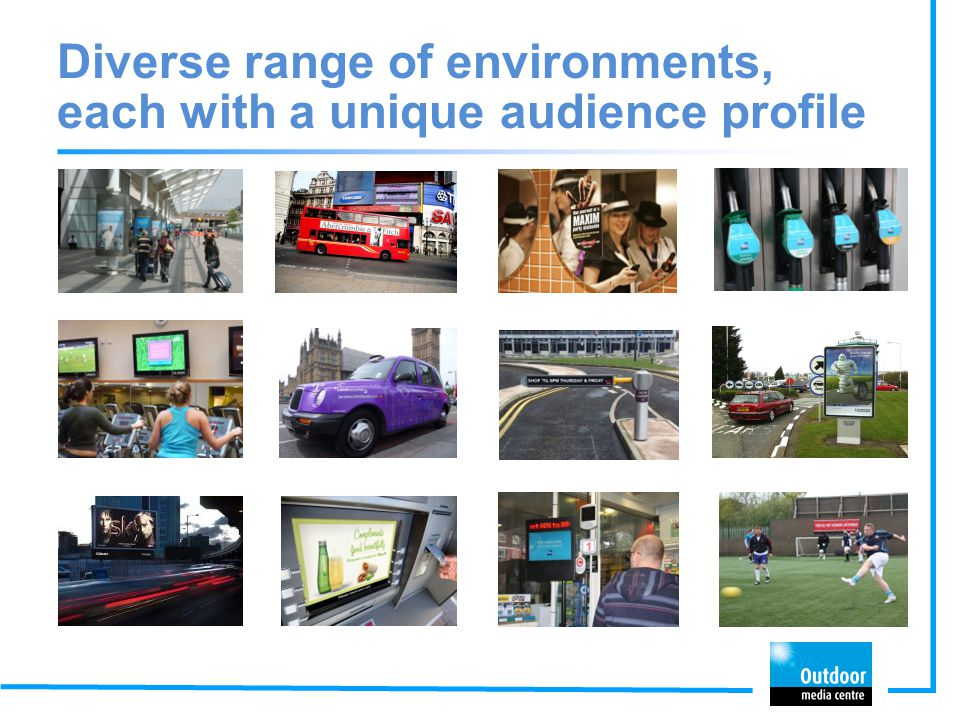 Diverse range of environments, each with a unique audience profile