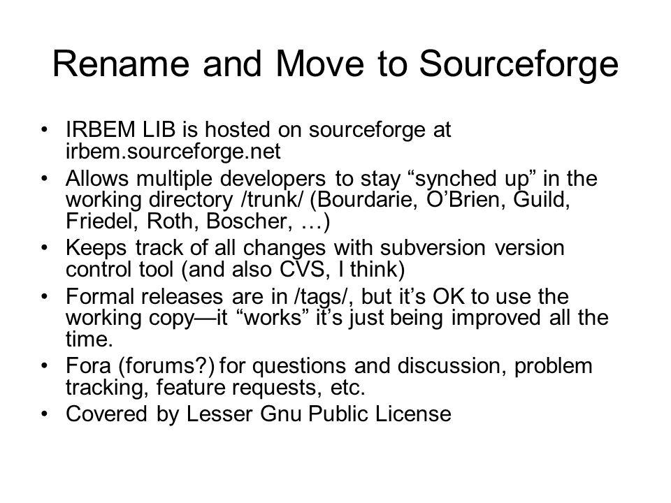 Rename and Move to Sourceforge
