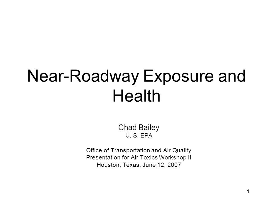 Near-Roadway Exposure and Health