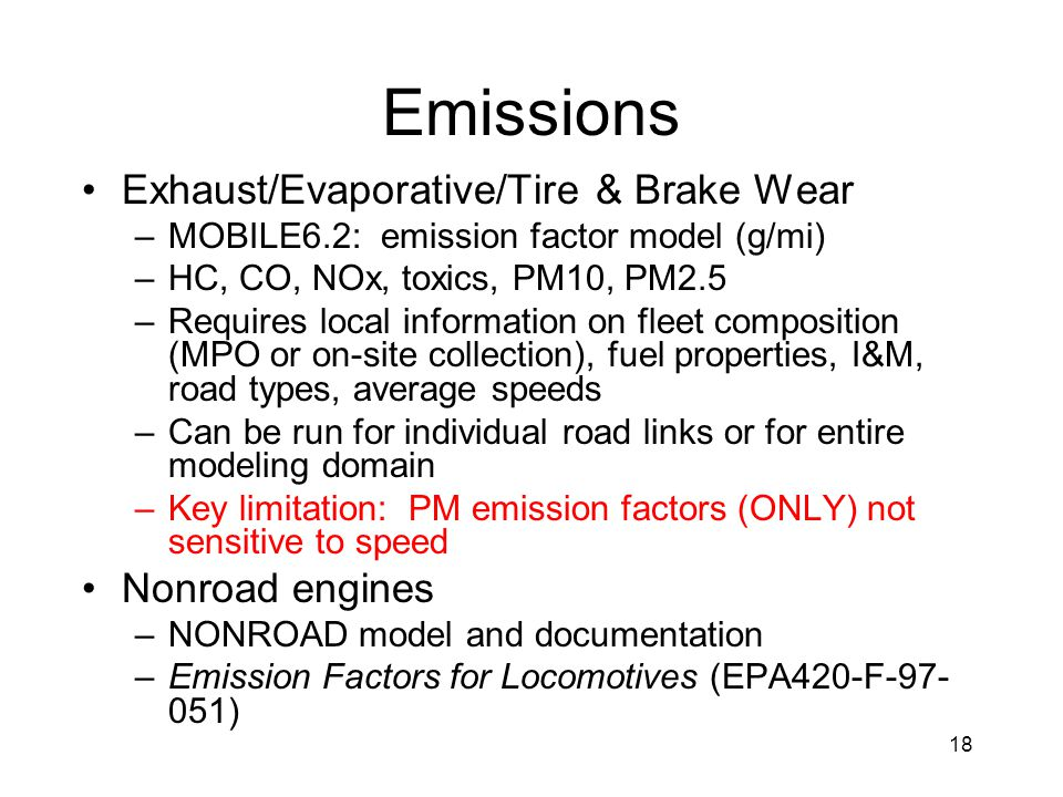 Emissions Exhaust/Evaporative/Tire & Brake Wear Nonroad engines