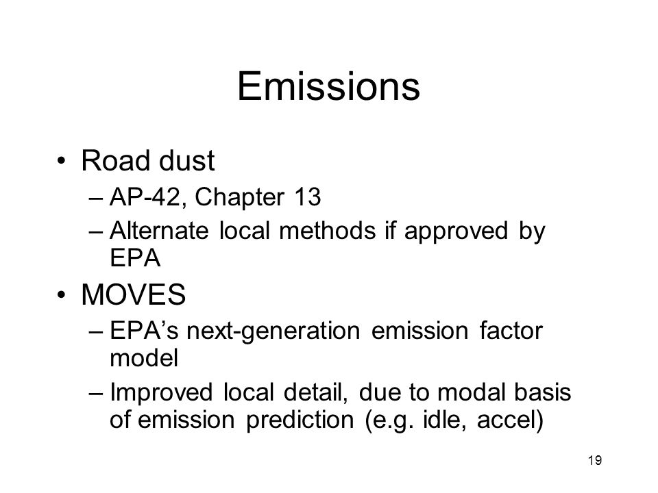 Emissions Road dust MOVES AP-42, Chapter 13