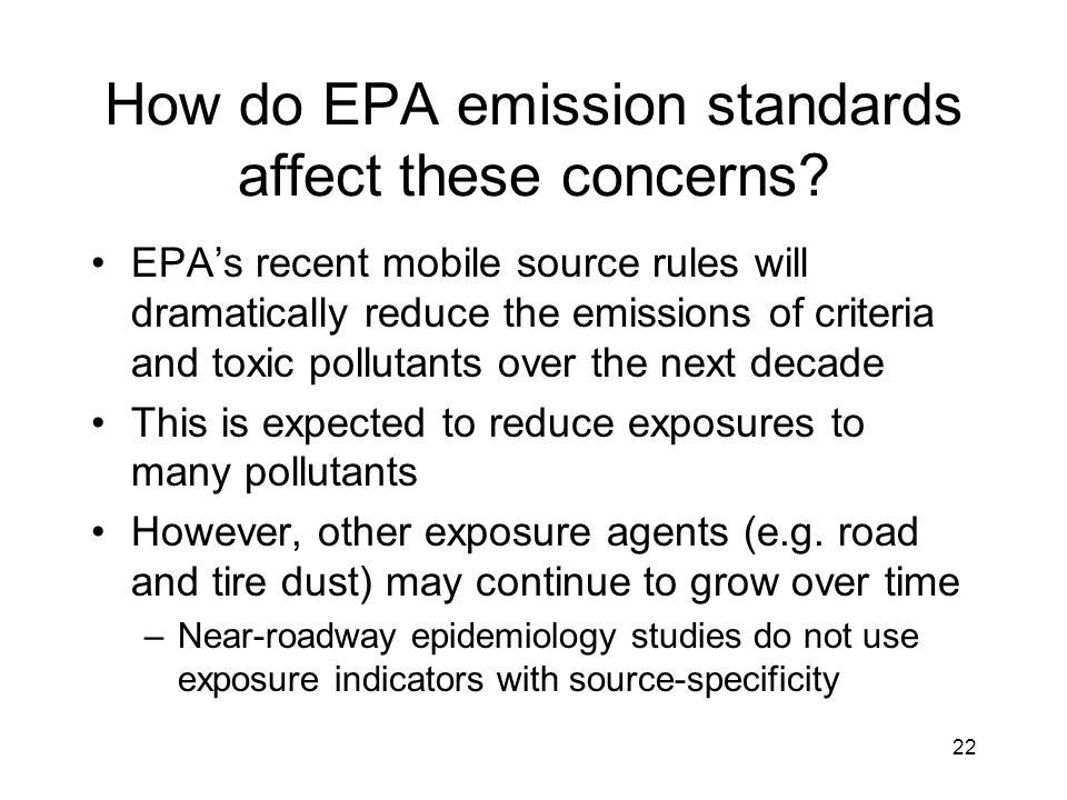 How do EPA emission standards affect these concerns