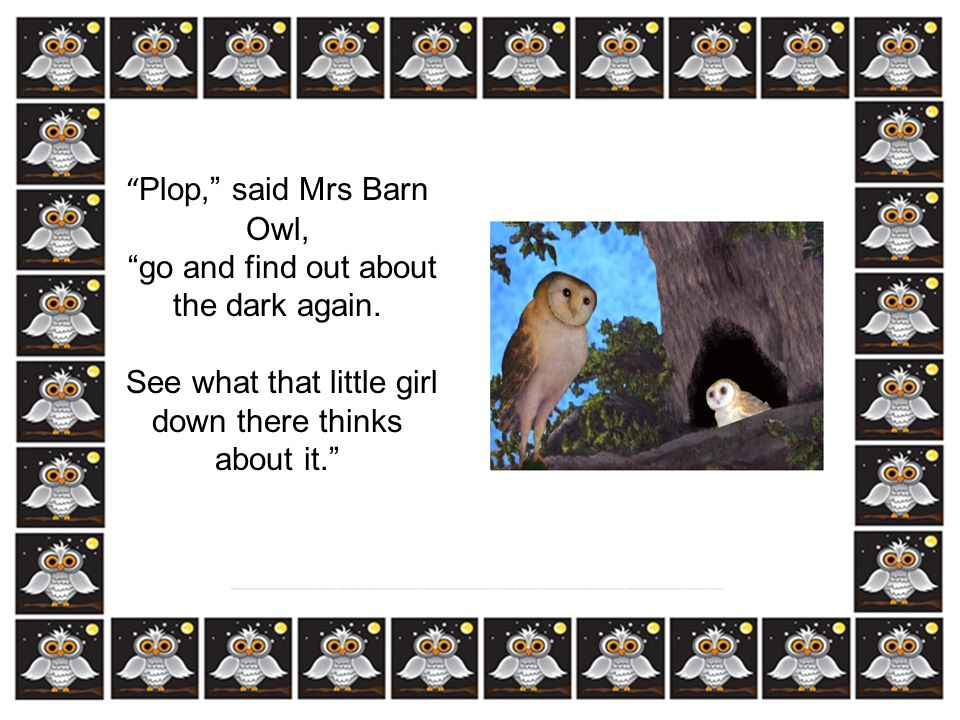Plop, said Mrs Barn Owl, go and find out about the dark again.