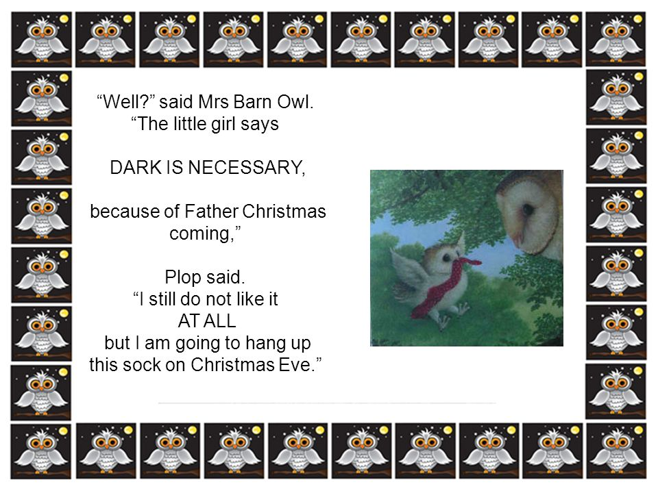 Well said Mrs Barn Owl. The little girl says DARK IS NECESSARY,